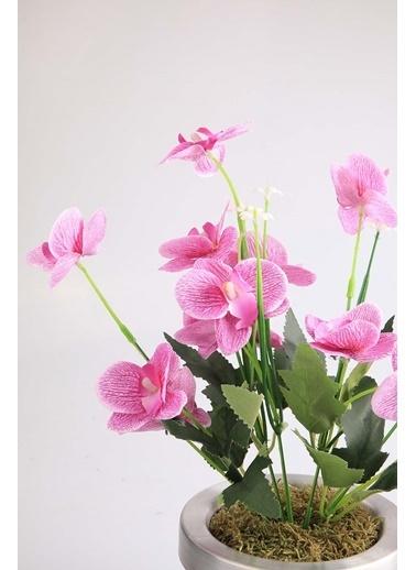Kibrithane Çiçek Yapay Çiçek Metal Saksı Lila Kumaş Orkide Kc00200816 Renkli